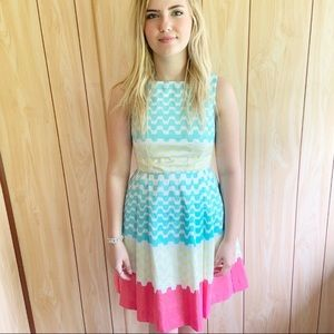 Taylor | Colorful Chevron Print Sleeveless Dress